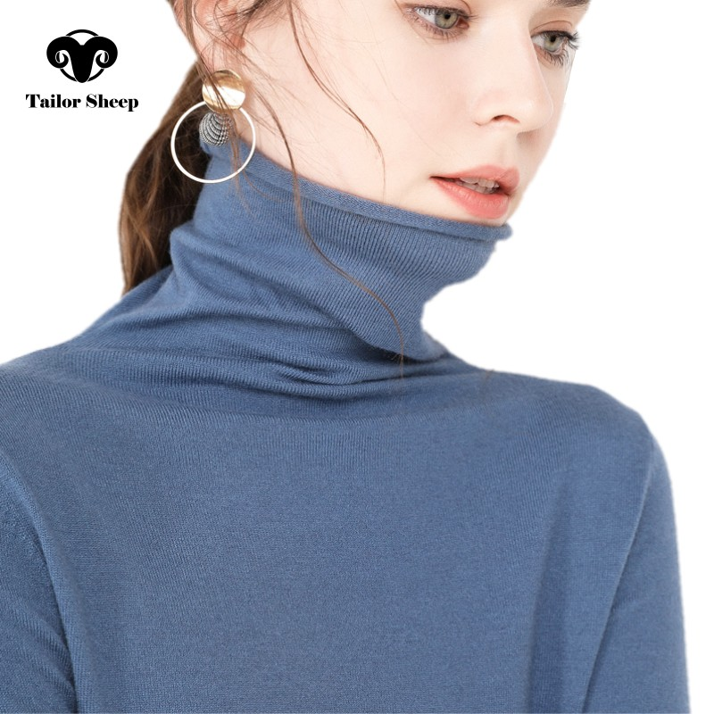 TAILOR SHEEP cashmere sweater women's casual long sleeved turtleneck wool  pullover winter ladies bottoming knitted tops