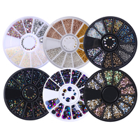 1 Box 3D Nail Art Rhinestones Glitters Acrylic Rhinestones for nails Manicure Nail Art Decoration In Wheel
