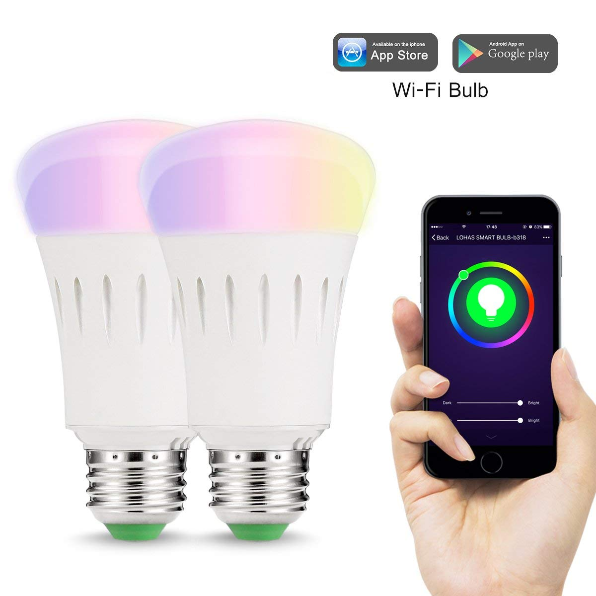 Wifi Smart LED Light Bulb E27 RGB Multi Color Dimmable Daylight Night Timer App Control Compatible with Alexa,Google Home-2PACK защитная пленка deppa для lg k10 глянцевая