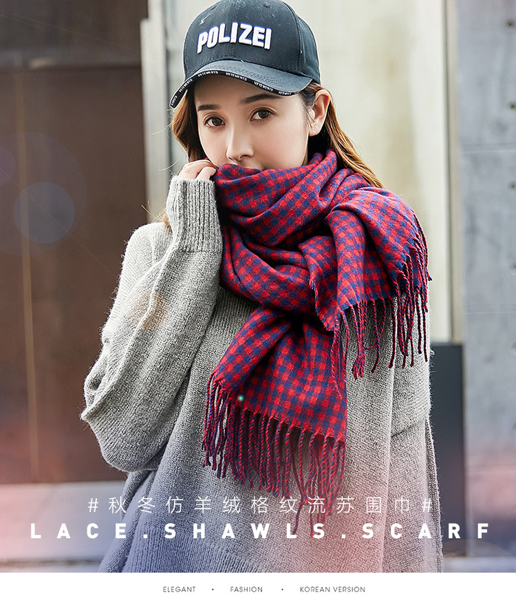 Winter Fall Women Scarves Large Long Wraps Shawls Thick Warm Cotton Plaid Womens Scarf Fashion Cashmere Women Scarf 6 Color