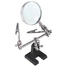 Удобный в переноске инструмент для сторонней пайки с 5-кратным увеличительным стеклом 2 зажима типа «крокодил» вращающийся на 360 градусов регулируемый
