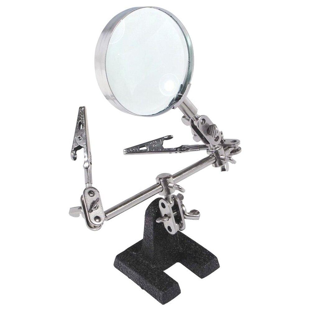 Soporte de soldadura de herramienta de tercera mano fácil de llevar con 5X lupa 2 Clips de cocodrilo 360 grados giratorios ajustables