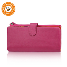 BONAMIE Genuine Leather Wallet RFID Women Female Luxury Brand Long Purses For Phone Elegant Lady Clutch Purse Lovely Card Holder
