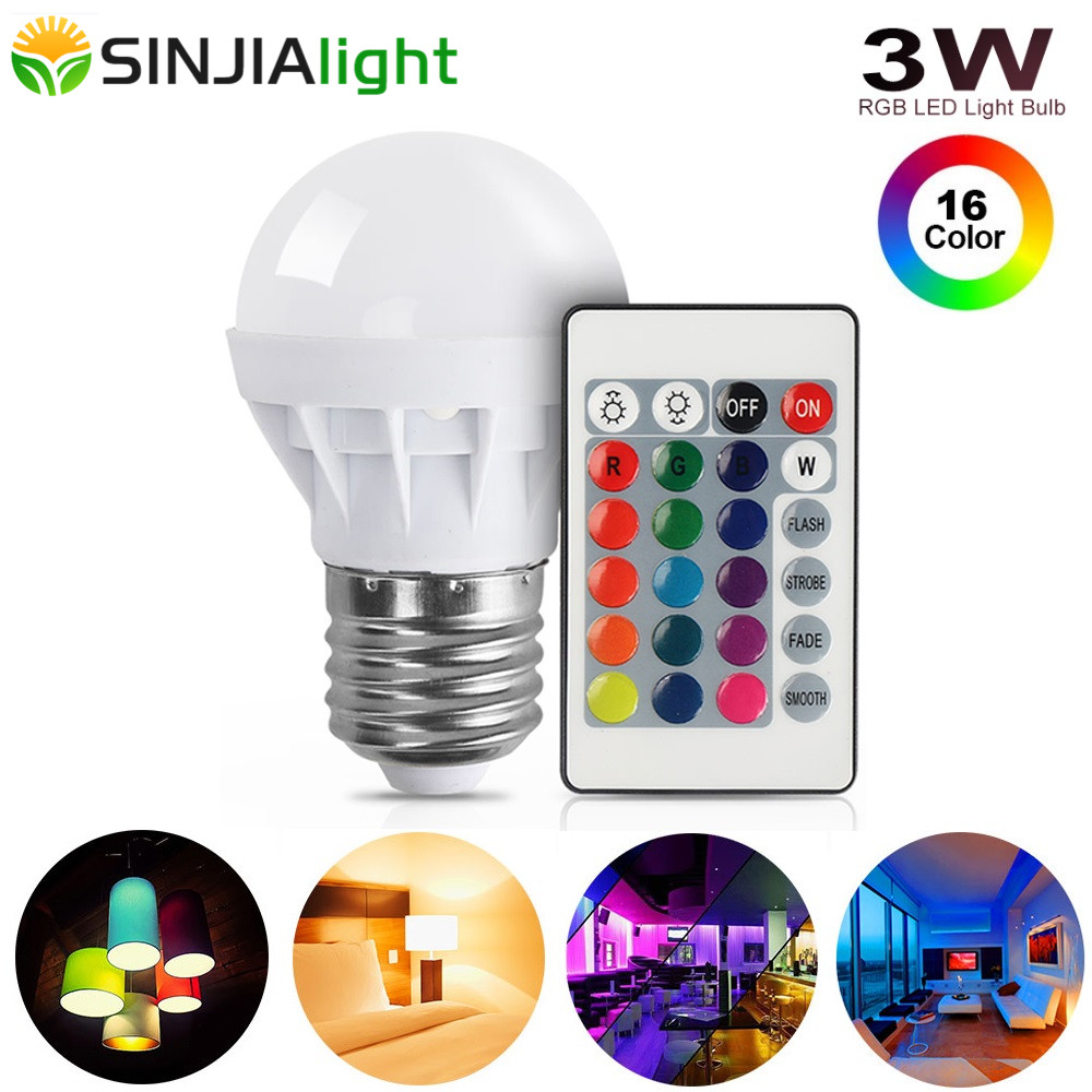 4pcs/lot 3W RGB LED Bulb Spotlight+Remote Controller LED Lamp Bar Party Stage Change Color Lampada Led Lights 110V 220V E27