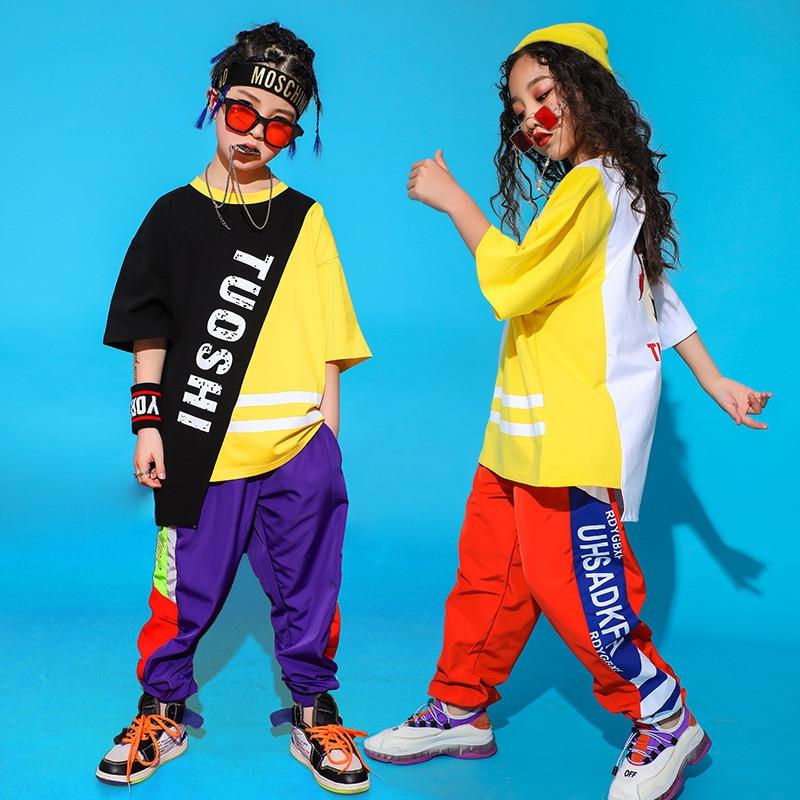 Kids Ballroom Hip Hop Dance Clothes For Girls Boys Jazz Dancing Costumes Oversized T Shirt Tops Loose Jogger Pants Dancewear