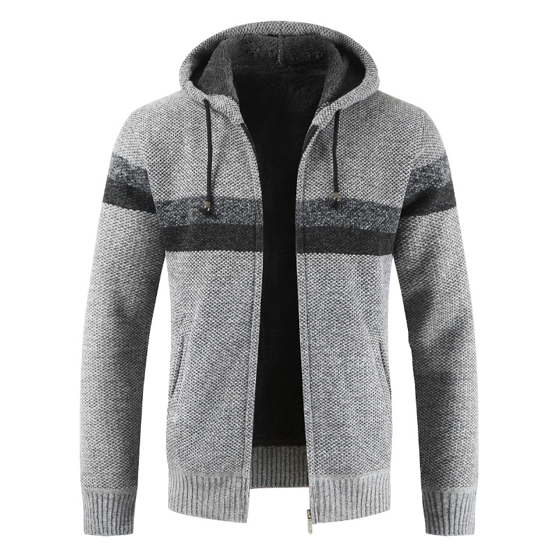 Brand Male Full Stand Collar Warmth Zipper Sweater Drop Ship Cardigan Winter Patchwork Wool Knit Men Casual Top Coat Plus 3XL