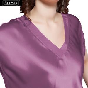 Image 3 - LilySilk 100 jedwabna koszula nocna kobiety bielizna nocna sukienka wieczorowa panie czysty dekolt z krótkim rękawem 22 momme połowy łydki darmowa wysyłka