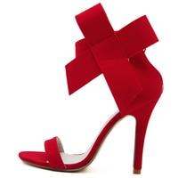 Fashion Women S Shoes Pointed Toe Big Bowtie Thin Heels High Heels Sandals Shoes Female Wedding