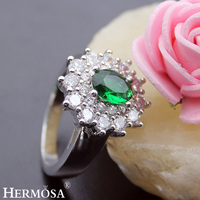 Hermosa Jewelry Advanced Fashion Green Peridot White Topaz 925 Sterling Silver Engagement Rings 8 BK112
