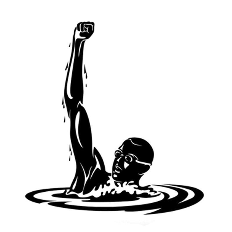 15.6CM*16.9CM Lovely Athlete Creative Sport Swimming Pool Silhouette Decor Vinyl Car Sticker S9-0678