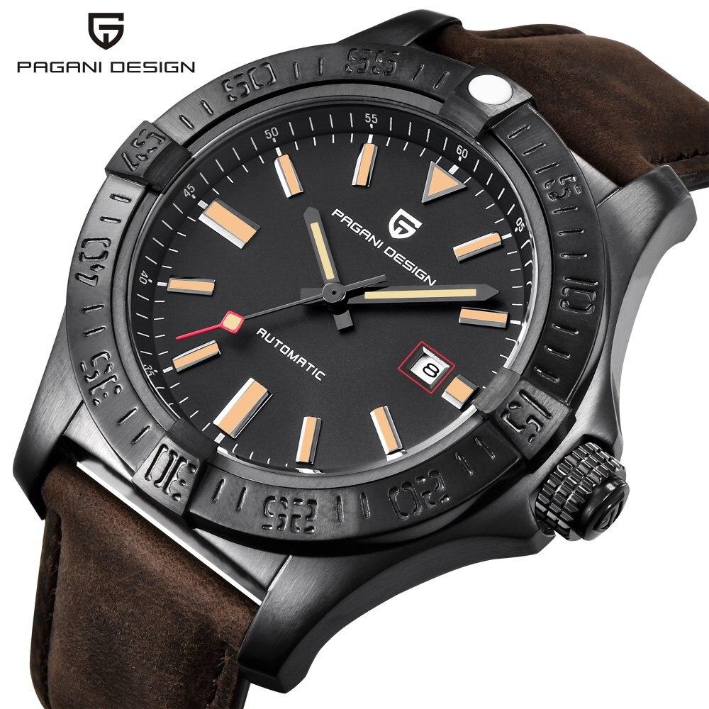PAGANI CONCEPTION Marque De Luxe Mens Montres Reloj Hombre Cuir Imperméable Automatique Mechanica Montre Hommes Relogio Masculino Saat