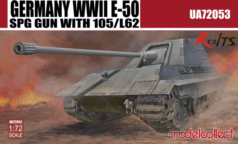 RealTS Model Collect UA72053 1/72 WWII German E-50 SPG Gun With 105/L62