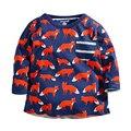 Novo bebê meninos outono primavera camiseta, impresso fox com detalhe do bolso, crianças de manga comprida t-shirt, crianças próximo roupas de estilo (1-6 Anos)