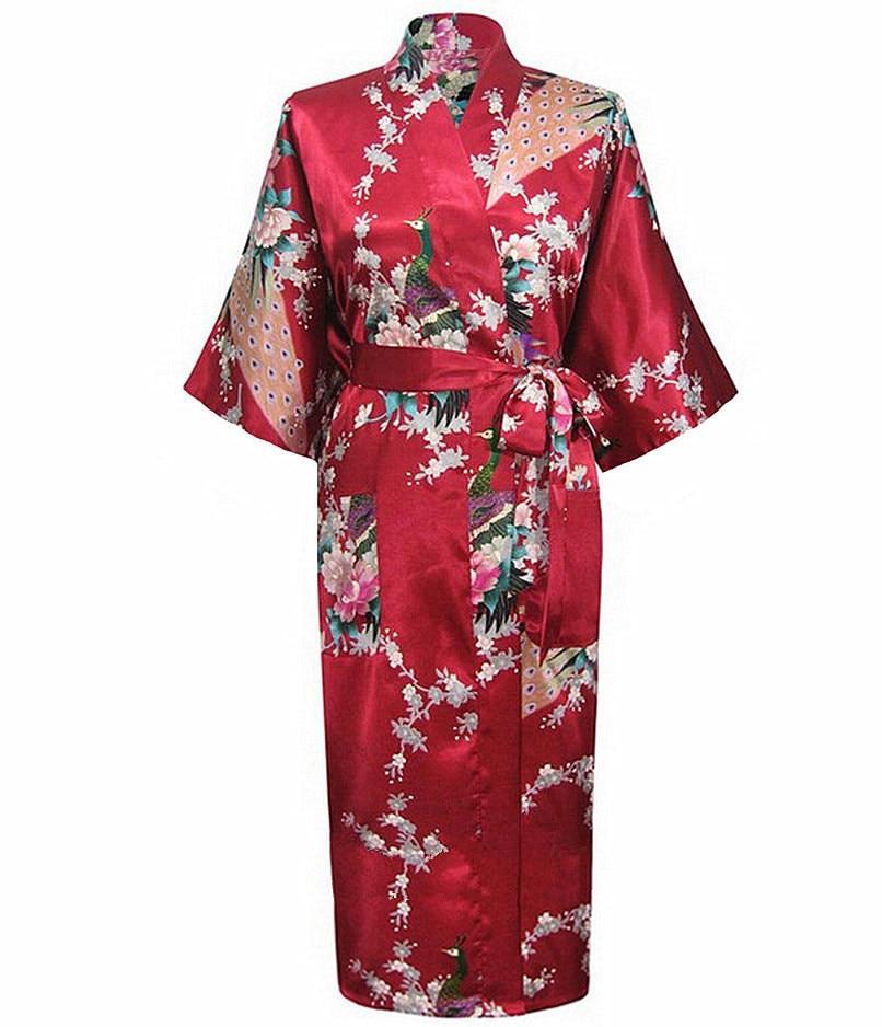 New Arrival Burgundy Ladies Sexy Summer Nightgown Long Style Robe Bath Gown Kimono Yukata Gown Size S M L XL XXL XXXL NR109