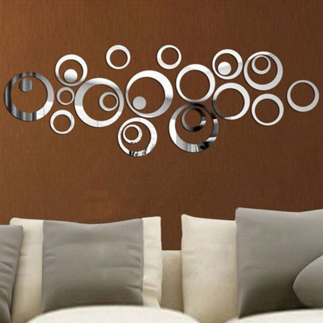 Direct selling new arrival 3d sticker modern acrylic red and silver ring mirror stickers wall paper