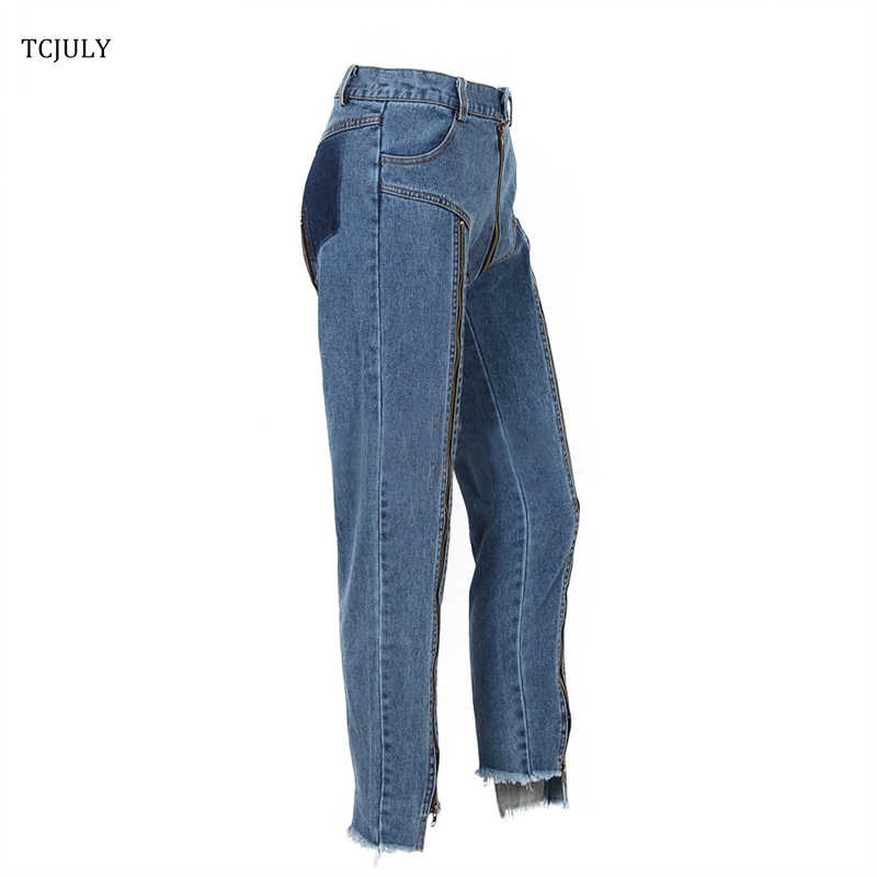 b8ecc873a0 ... TCJULY Fashion Jeans With Zipper Back Bottom Irregular Design Slim  Streetwear Blue Jeans Cotton Stretch Jeans ...