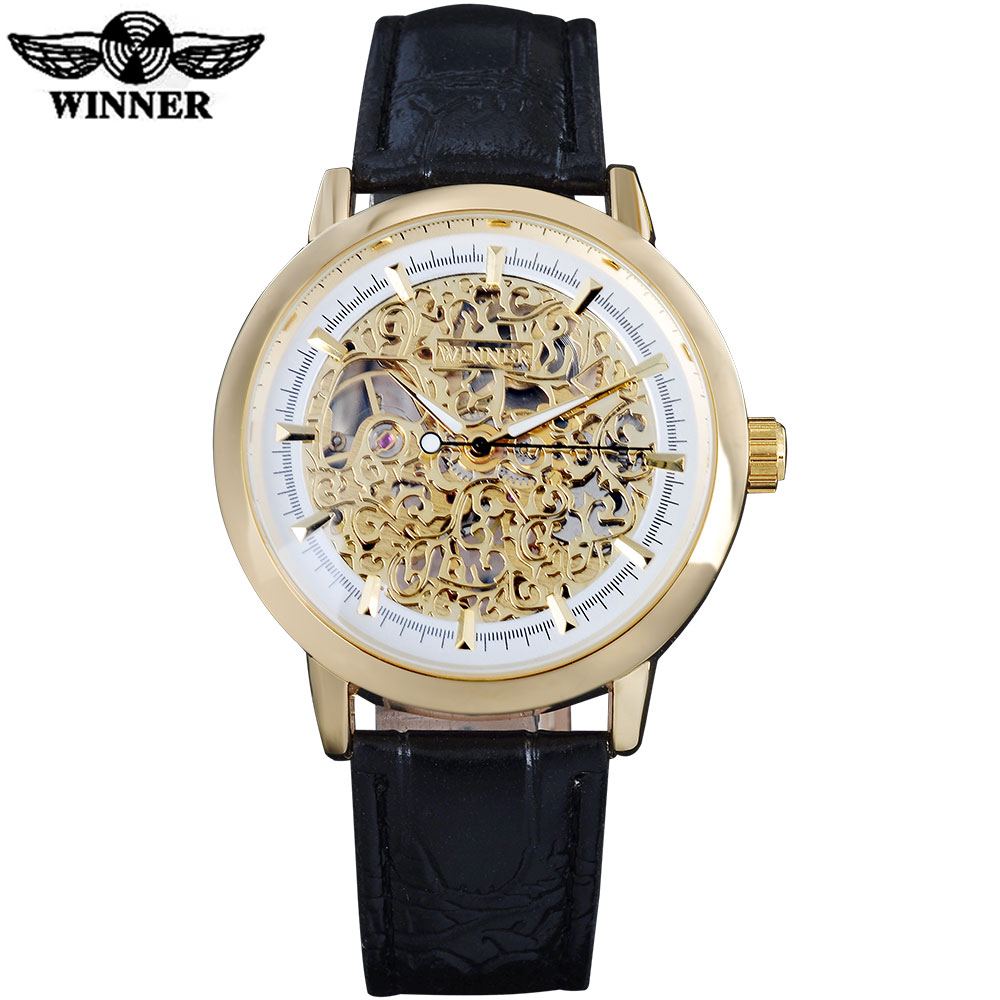 2018 WINNER famous popular hot mechanical brand for men man fashion casual classic skeleton watches gold white dial leather band winner luxury men mechanical watches fashion hot brand man new automatic skeleton wristwatches gold case steel band reloj hombre