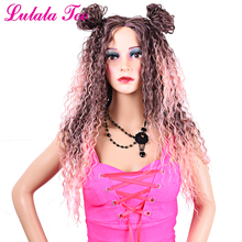 28inch Long Curly Fashion Pink Wig For Women Ombre Brown Root With Rose Gold l Deep Part Lace Full Wig Synthetic fluffy long curly synthetic fashion blue ombre purple centre parting adiors wig for women