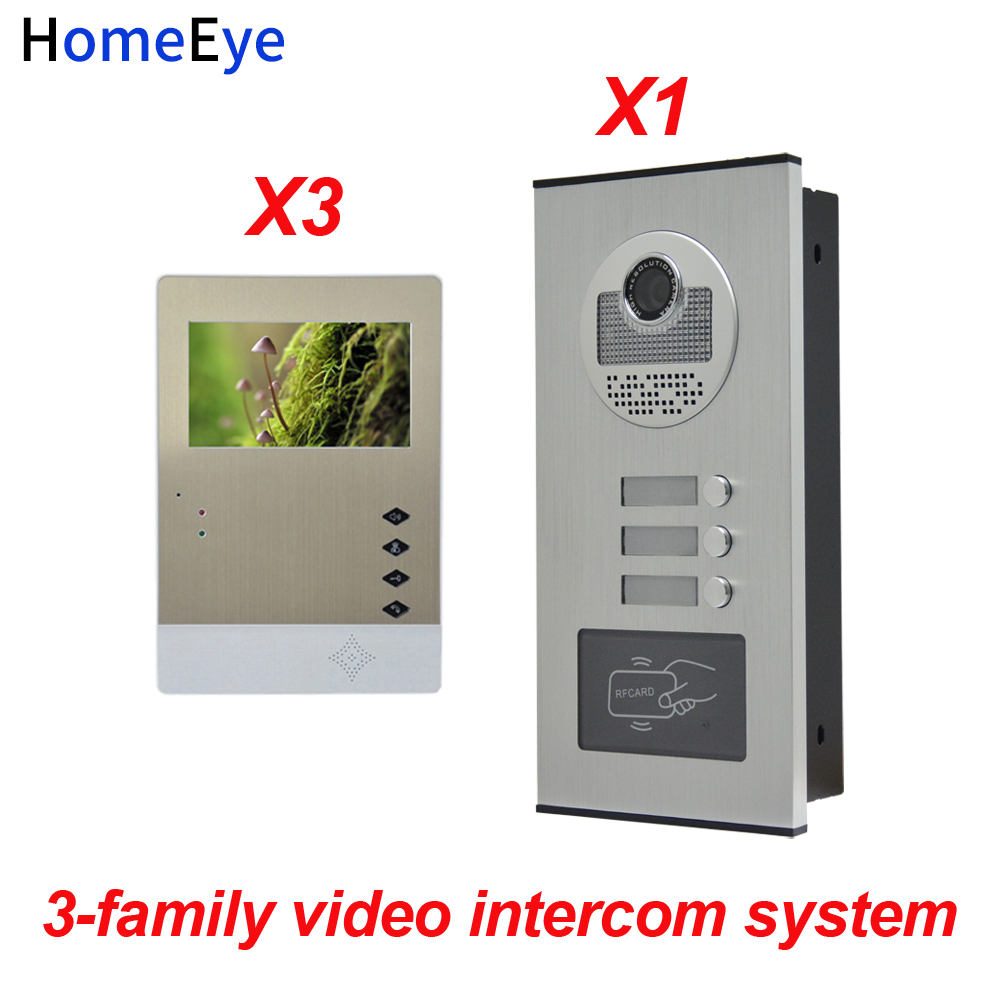 HomeEye 3 Families Door Bell Home Access Control System 4.3'' LTD 4-Wire Multi Apartments Video Door Phone Intercom + RFID Card
