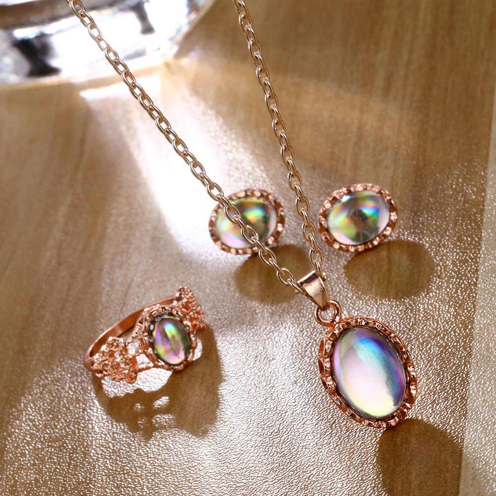 FAMSHIN Mode Crysta Schmuck Sets Für Frauen Erklärung Runde Rose Gold Farbe Anhänger Halsketten Ohrringe Ringe Weiblichen Schmuck