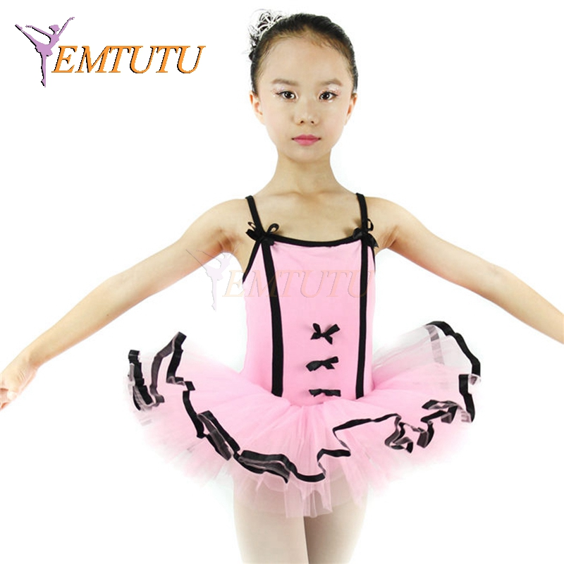 Rosa negro cinta afilada danza traje niños tutú Ballet ropa niños ...