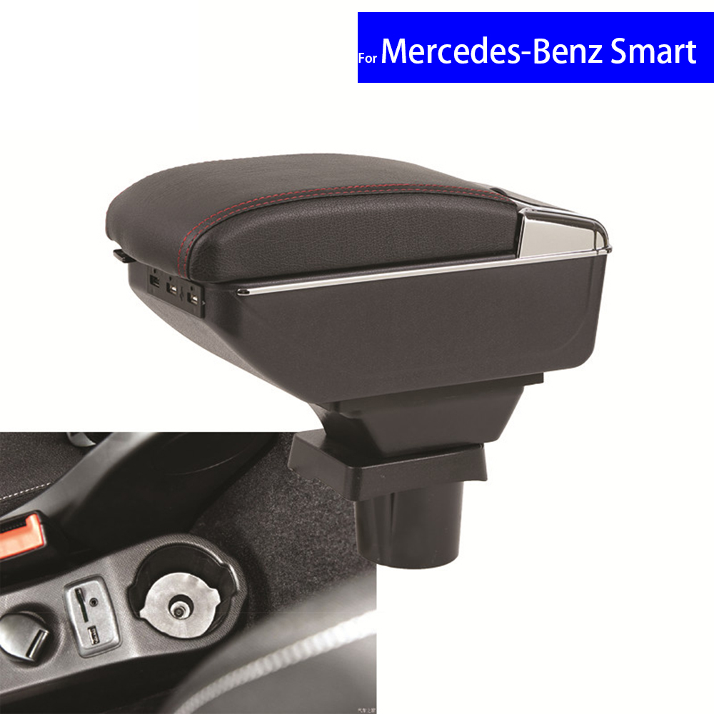 Leather Car Interior Parts Center Console Armrest Box for Mercedes-Benz Smart Fortwo Forfour Armrests Auto Stroage Free Shipping black interior storage box armrest center console for honda fit jazz 2014 2015