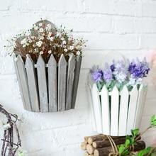 The American village style wall hanging basket wooden basket storage basket flower garden Home decoration
