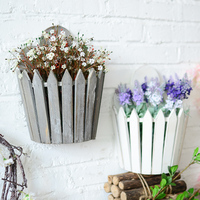 The American village style wall hanging basket wooden basket storage basket flower garden Home decoration