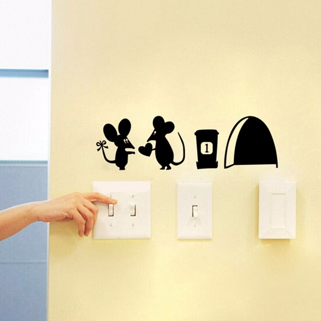 3d Funny mouse hole wall stickers decals Living room Bedroom wall ...