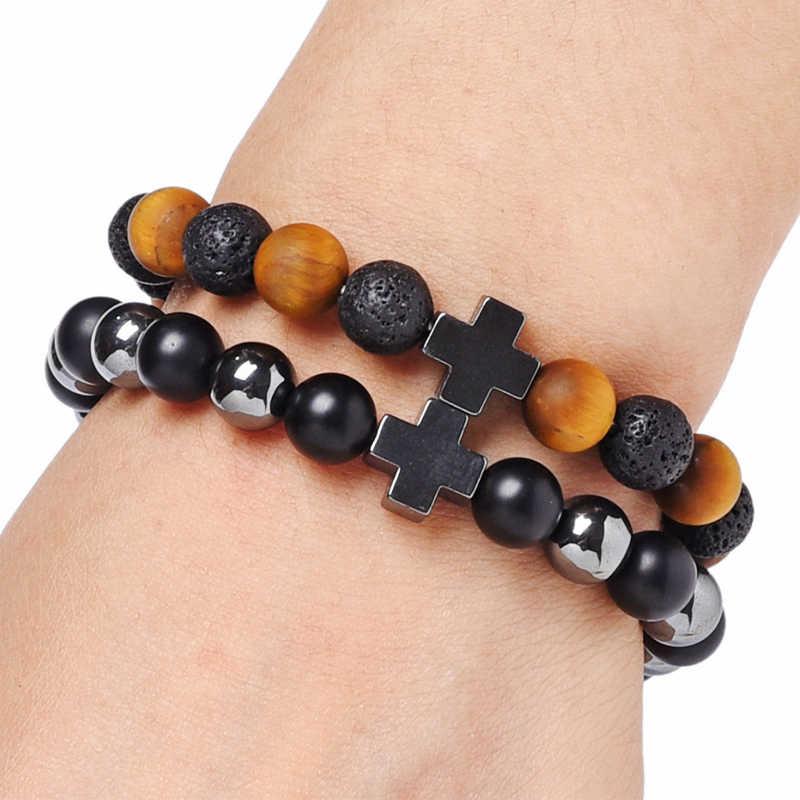 NAPOLN, pulsera cruzada para mujeres, 8 MM, pulseras de piedra de lava Natural, pulsera de ojo de tigre, joyería para hombres, precio de fábrica al por mayor