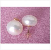 huge 12 13mm south sea white pearl earring 14k yellow gold