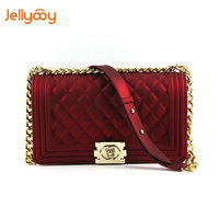 Jellyooy Beachkins New Fashion Girl Chain Messenger Bag PVC Chic Matte Jelly Chain Bags Luxury Handbags Women Bags Designer