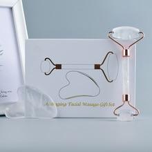 2 в 1 Природный Горный кварц кристалл для похудения лица массажный инструмент для массажа лица роликовый массаж камень здоровье красота подарочный набор