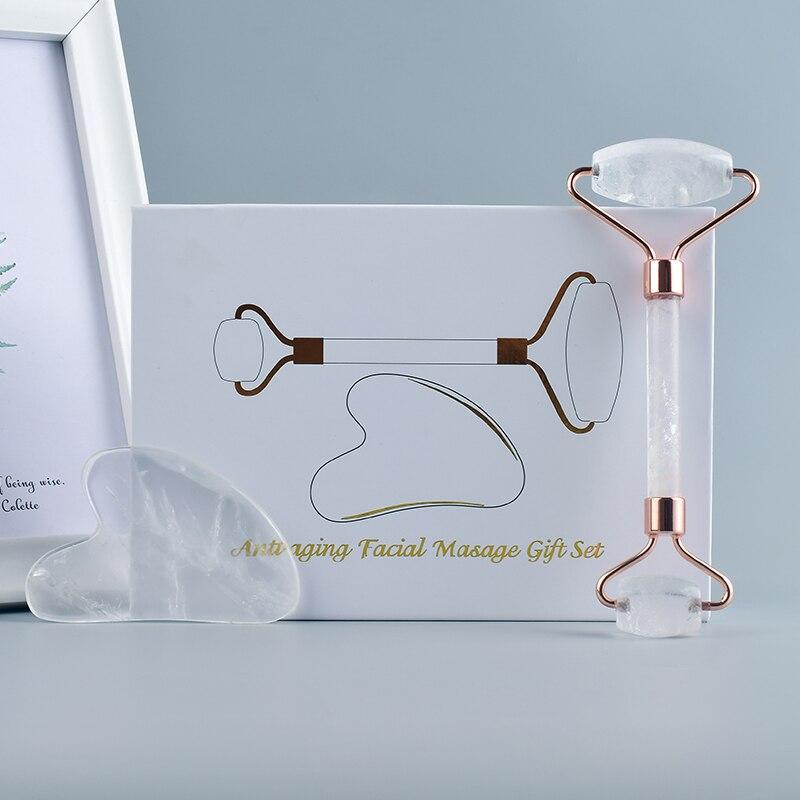 US $8.18 9% СКИДКА|2 в 1 Природный Горный кварц кристаллический массажный инструмент для похудения лица массажный ролик для лица массажный камень красота здоровья подарочный набор|Массажные инструменты| |  - AliExpress