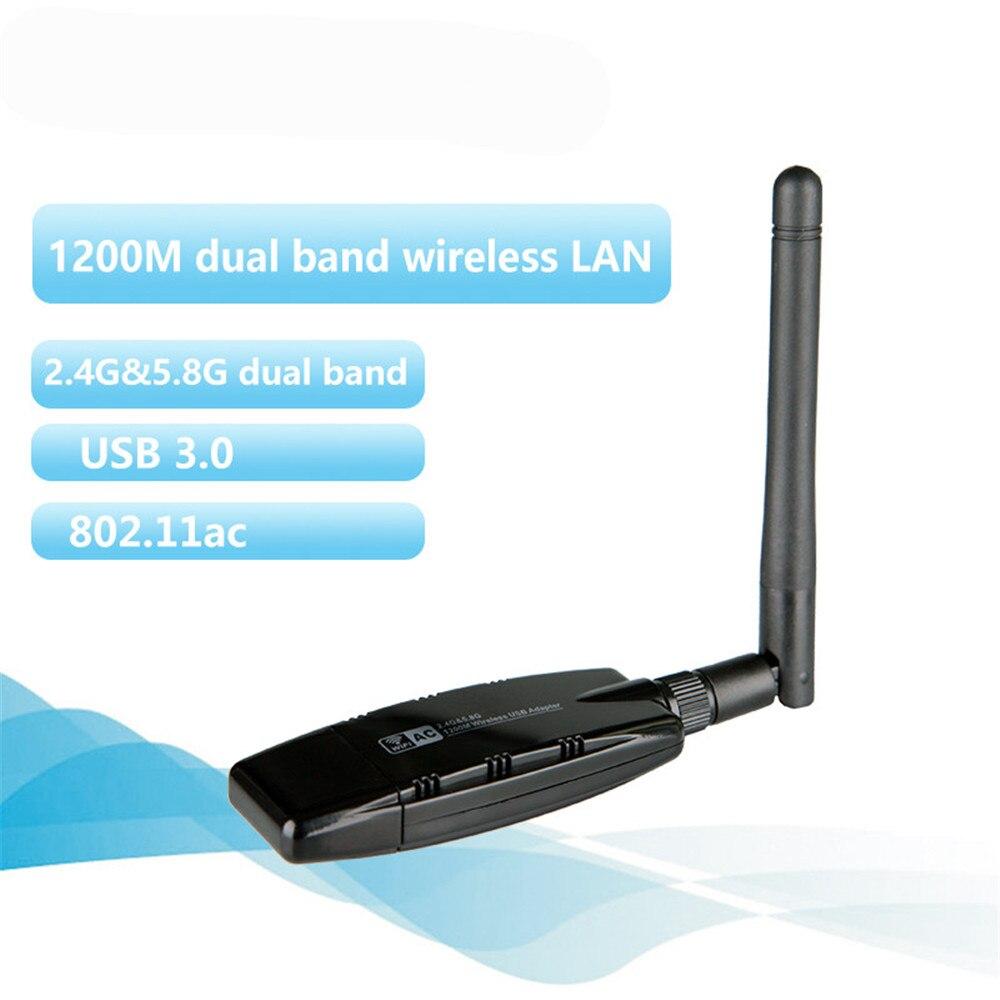 1200 Mbps Double Bande Sans Fil WIFI Adaptateur 2.4 GHz 5 GHz Carte Réseau Avec Antenne USB 3.0