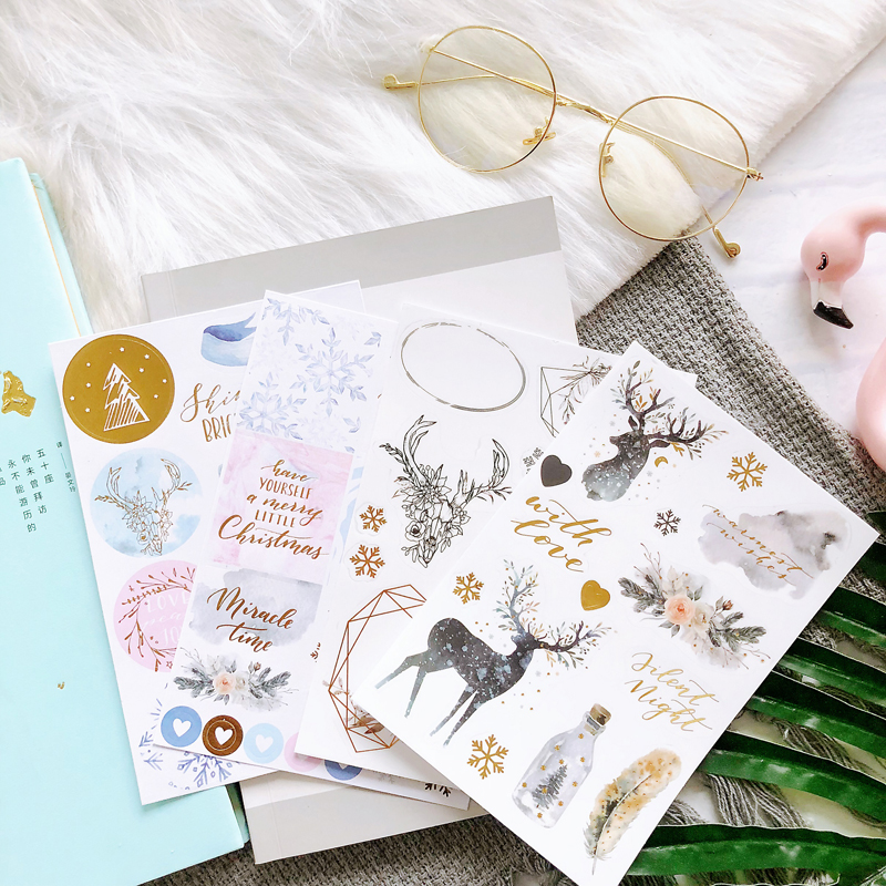 Lovedoki 2019 Scrapbooking Stickers Planner Accessories Christmas Theme Notebook Diary Decorative Sticker Stationery Supplies