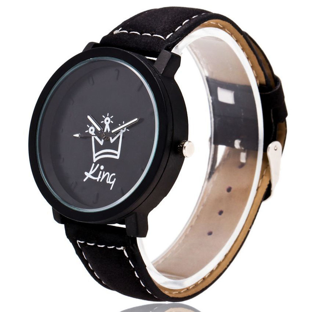 King Queen Leather Watches Women Lovers Quartz Watch Men Brand Luxury Wristwatch Female Male Quartz Lover`s Watches KNG88