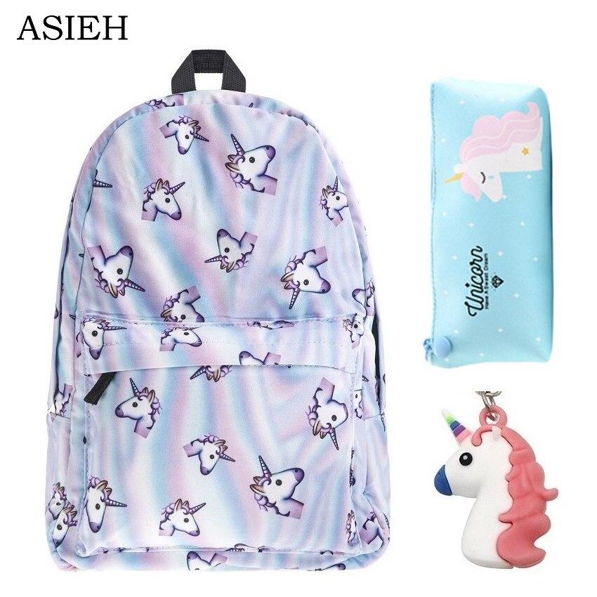 Ms Leisure Backpack Travel schoolbags for teenage girls mochila feminina Girls 3Pcs Bagpack Set mochila de unicornio Softback