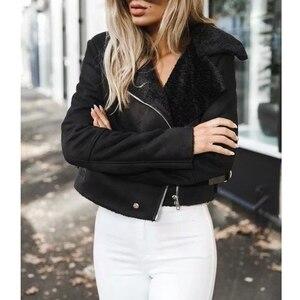 Modne skórzane zamszowe Faux płaszcz skórzany kurtki kobiety zamek błyskawiczny pas Moto kurtka fajne Streetwear kurtki zimowe płaszcz ładny