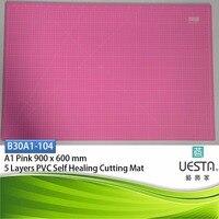 핑크 3.0 미리메터 사각형 자기 치유 5 층 PVC 절단 매트 A1 90x60 cm 36x24 인치