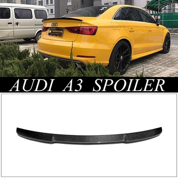 Для Audi A3 S3 Sedan 4 двери 2014-2016-2019 углеродное волокно внешний задний спойлер задний багажник декоративное крыло Автомобиль Стайлинг
