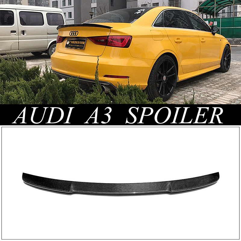 MONTFORD Fit For Audi A3 S3 Sedan 4Door 2014 2015 2016 Carbon Fiber Exterior Rear Spoiler Tail Trunk Wing Decoration Car Styling hot car abs chrome carbon fiber rear door wing tail spoiler frame plate trim for honda civic 10th sedan 2016 2017 2018 1pcs