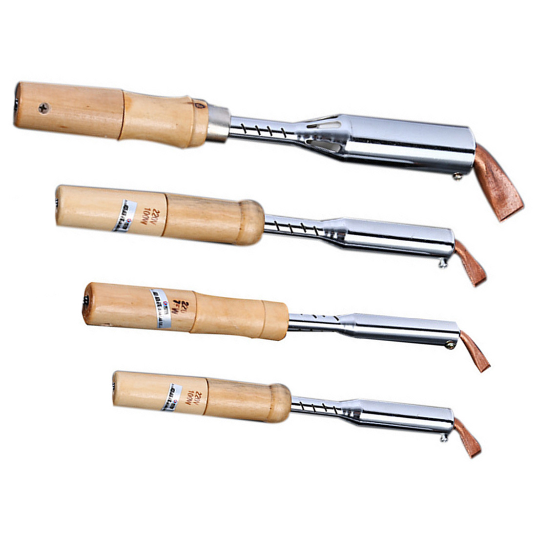 220V Heavy Duty Electric Soldering Iron 75W 100W 150W 200W High Power Soldering Iron Chisel Tip Wood Handle