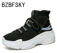BZBFSKY Shark Logo High Top Sneakers Women Knit Upper Breathable Sock Shoes Thick Sole 5 CM Fashion sapato feminino Black White
