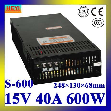 LED power supply  15V 40A 100~120V/200~240V AC input single output switching power supply 600W 15V transformer 15v 600w switching power supply 15v 40a single output ajustable 50 60hz ac to dc industrial power supplies s 600 15