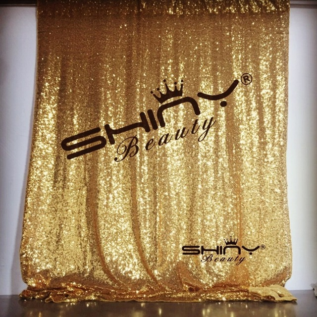 ShinyBeauty 8FTx8FT Gold Sequin Curtain Sparkly Bling Backdrop A