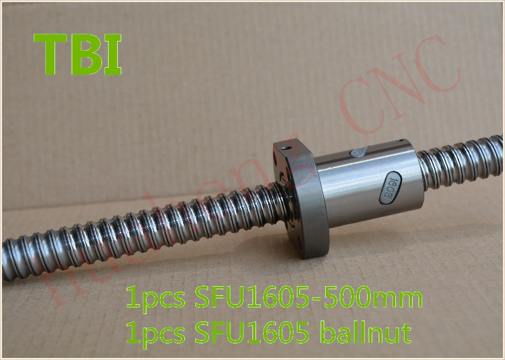 TBI ball screw 16mm RM1605 SFU1605 ball screw 500mm with 1605 ball nut CNC DIY Carving machine 1pcs aluminum lathe body cnc 6040 router 1605 ball screw cnc frame kit diy cnc engraving machine