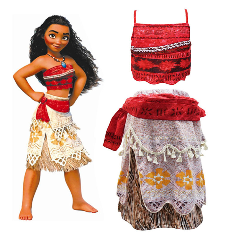 2018 Summer Moana Dress for girls Moana Princess Dresses Kids Party Cosplay Costumes With Wig Children Clothing Vaiana clothes trolls wig dress set new year costumes for girls halloween carnival dresses moana clothes children vaiana party dress vestidos