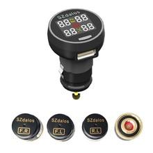 2017 Mais Novo szdalos TP200 tmps Sistema de Monitor de Pressão dos Pneus tpms Sem Fio com carregador do cigarro Sensor Externo