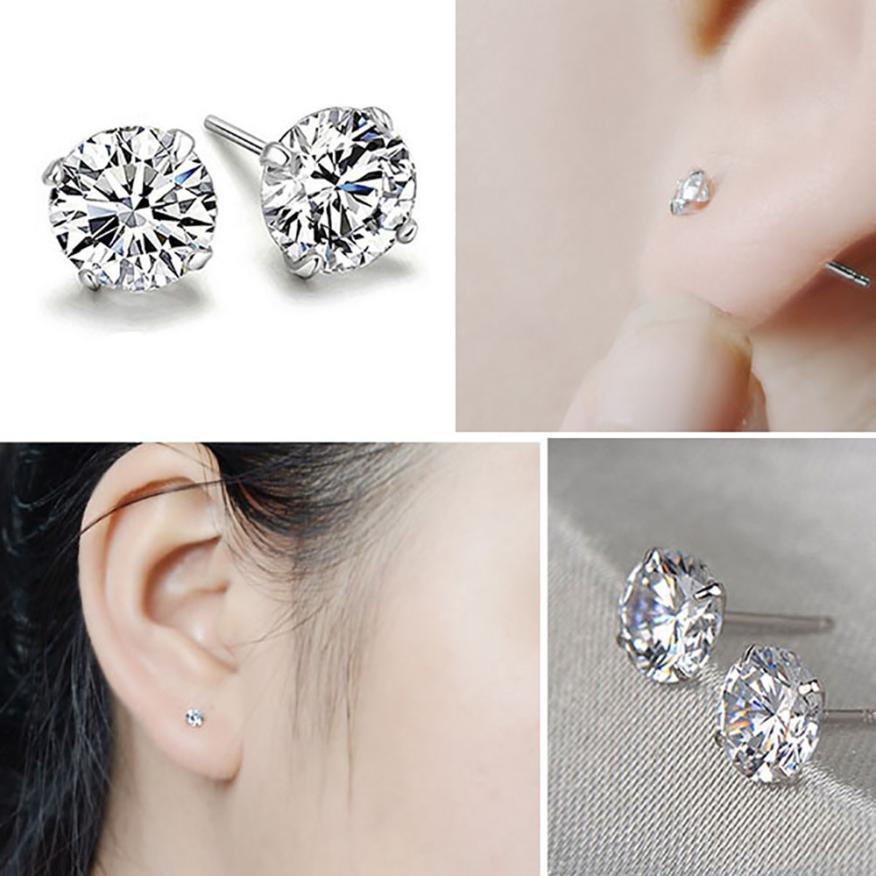 Bling-World Fashion Elegant Women 925 Sterling Silver Cubic Zirconia Round Stud Earring Delicate Jewelry Wonderful Gift Sep21